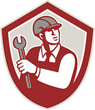 Mechanic Holding Wrench Shield Crest Retro