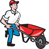 Gardener Pushing Wheelbarrow Cartoon
