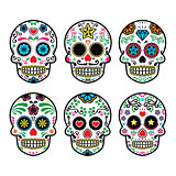 Mexican sugar skull, Dia de los Muertos icons set on white background