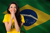 Nervous football fan in brasil tshirt