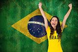 Excited football fan in brasil tshirt