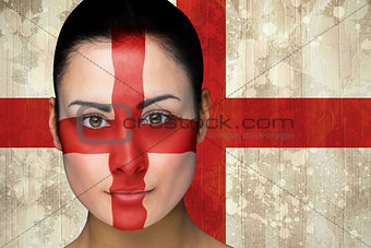Beautiful england football fan in face paint