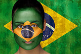Beautiful football fan in face paint