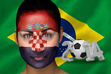 Croatia football fan in face paint