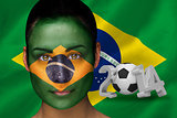 Brasil football fan in face paint