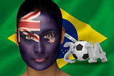 Australia football fan in face paint