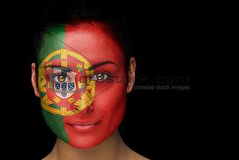 Portugal football fan in face paint