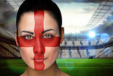 Beautiful england fan in face paint