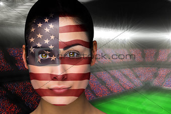 Beautiful america fan in face paint