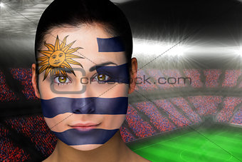 Beautiful uruguay fan in face paint