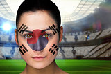 Beautiful korea fan in face paint