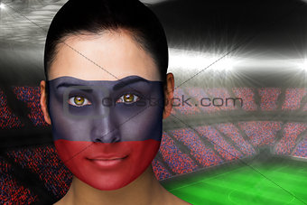 Beautiful russia fan in face paint