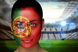 Beautiful portugal fan in face paint