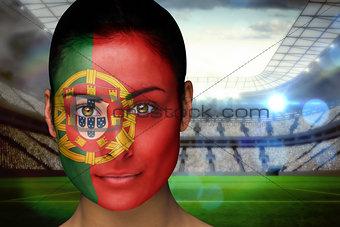 Beautiful portugal fan in face paint