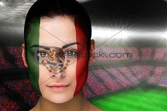 Beautiful mexico fan in face paint