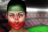 Beautiful iran fan in face paint