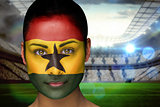 Beautiful ghana fan in face paint