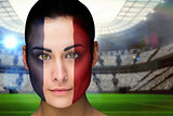 Beautiful france fan in face paint