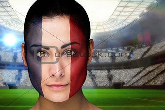 Beautiful france fan in face paint