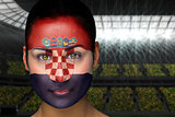Beautiful croatia fan in face paint