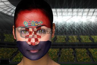Beautiful croatia fan in face paint