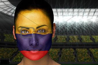 Beautiful colombia fan in face paint