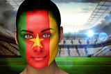Beautiful cameroon fan in face paint