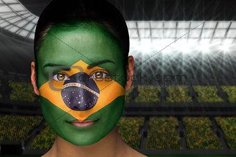 Beautiful brasil fan in face paint
