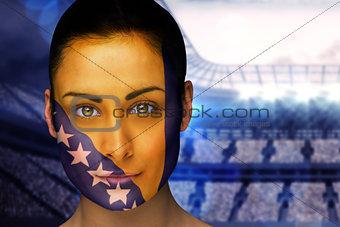 Beautiful bosnia fan in face paint