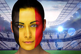 Beautiful belgian fan in face paint