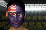 Beautiful australia fan in face paint