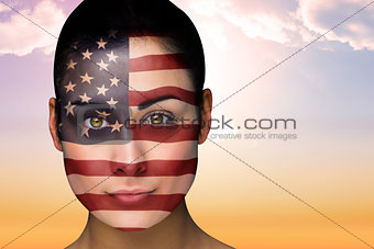 Beautiful brunette in america facepaint
