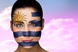 Beautiful brunette in uruguay facepaint