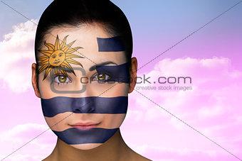 Beautiful brunette in uruguay facepaint