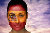 Beautiful brunette in spain facepaint