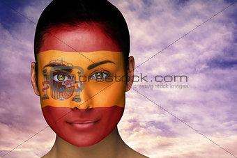 Beautiful brunette in spain facepaint