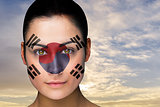 Beautiful brunette in south korea facepaint
