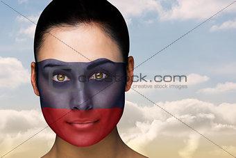 Beautiful brunette in russia facepaint