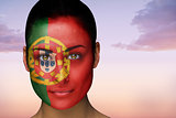 Beautiful brunette in portugal facepaint
