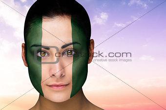 Beautiful brunette in nigeria facepaint