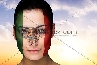 Beautiful brunette in mexico facepaint