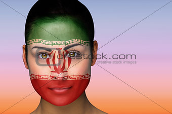 Beautiful brunette in iran facepaint