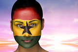 Beautiful brunette in ghana facepaint