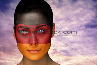 Beautiful brunette in german facepaint