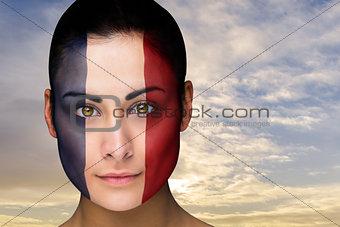 Beautiful brunette in france facepaint