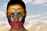 Beautiful brunette in ecuador facepaint