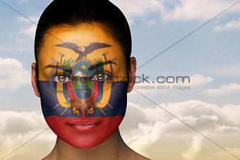 Beautiful brunette in ecuador facepaint