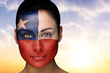 Beautiful brunette in chile facepaint