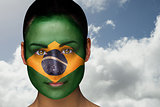 Beautiful brunette in brasil facepaint