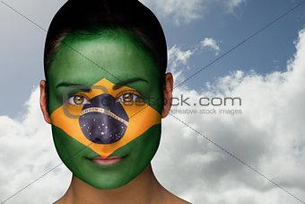 Beautiful brunette in brasil facepaint